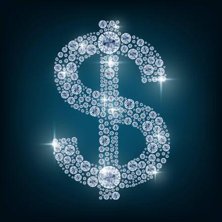 dollar symbol: Shiny diamond dollar symbol