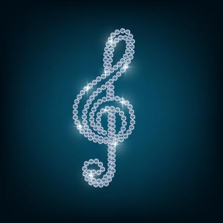 Treble clef with concept diamond Stock Photo