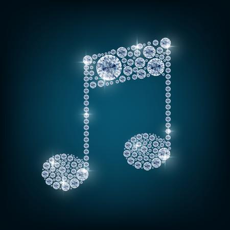 diamantina: Nota de la m�sica con el concepto de diamantes Foto de archivo