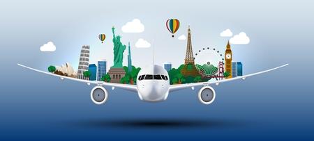 コンセプトは飛行機で世界を旅  イラスト・ベクター素材