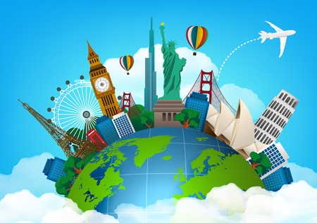 The concept of travel. famous monuments of the world Vettoriali