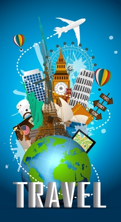 Travel famous monument of the world. Icon Illustration