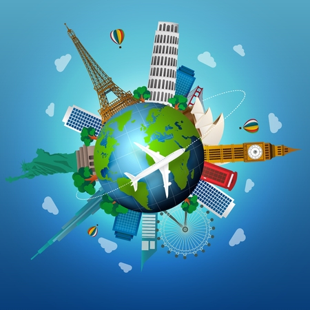The concept of travel. famous monuments of the world  イラスト・ベクター素材