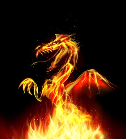 flying dragon: Dragon fire on background