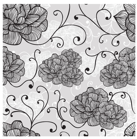 skecth: Florals of seamless pattern background