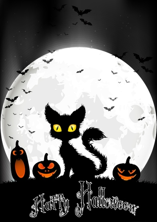 halloween poster: Halloween background with cat and pumpkins on the full moon