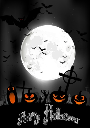 full moon: Halloween night with pumpkins and bats on graveyard on the full moon