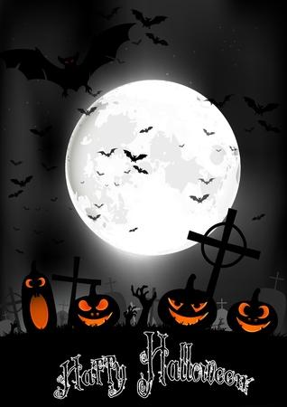 completo: la noche de Halloween con calabazas y murci�lagos en el cementerio de la luna llena Foto de archivo