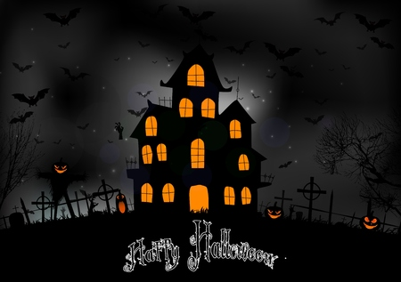 halloween background: Halloween background with scary house