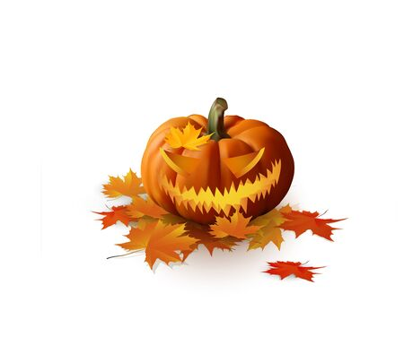 dried: Halloween pumpkin isolated on white with dried leaves