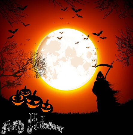 ghost: Halloween background with ghost and pumpkins on the full moon
