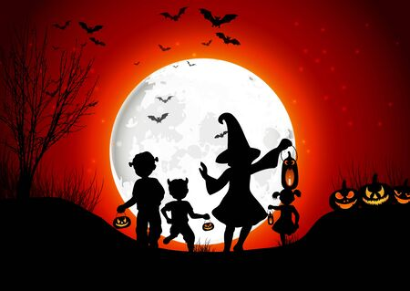 necropolis: Halloween background little girls with pumpkins on the full moon Stock Photo