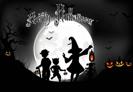 frightful: Halloween background little girls with pumpkins on the full moon Stock Photo