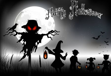 ghost: Halloween background with ghost and little girls on the full moon