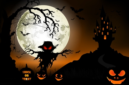 poster art: Halloween background with ghost, scary house and pumpkins on the full moon Stock Photo