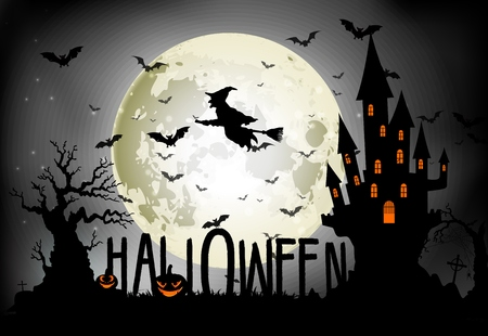 night stick: Halloween background of Witch on the full moon