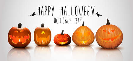 angry vegetable: Halloween background Pumpkins Stock Photo