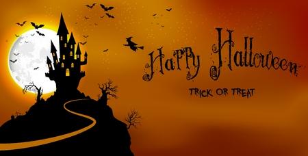 castillos: Fondo de Halloween embrujado castillo de miedo en la noche