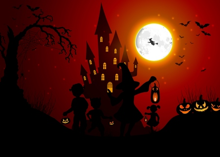 jour nuit: Halloween background with silhouettes of children on day night Illustration