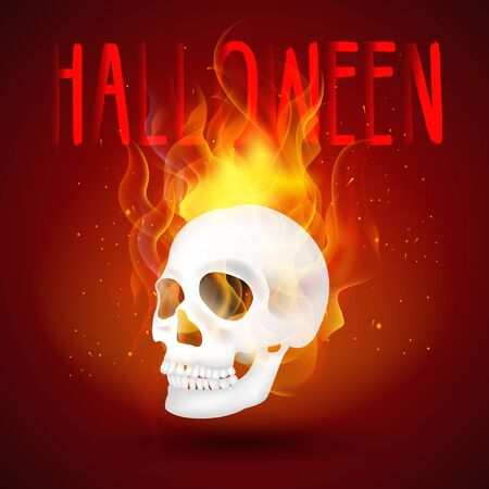 ghastly: Halloween background Human skull in fire