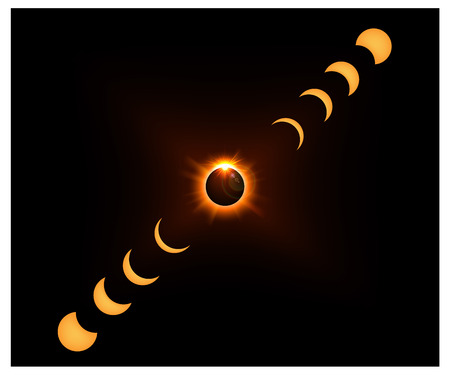 crescent: Space background with gold sun light and Crescent moon