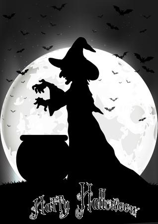 bruja: La bruja cocina en la luna llena Foto de archivo