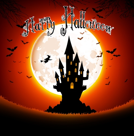 monsters house: Halloween scary house on full moon background Illustration