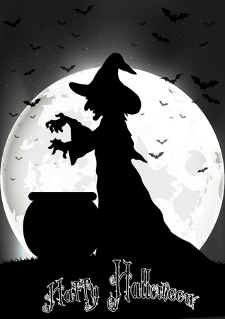 The witch cooks on the full moon Stock Illustratie