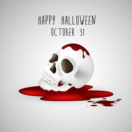 ghastly: Halloween background Human skull on blood