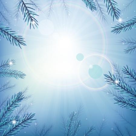 sky sun: Blue sky with glow sun with tree Illustration