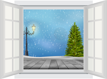 lamp post: Open window of Christmas tree and lamp post on winter background Stock Photo
