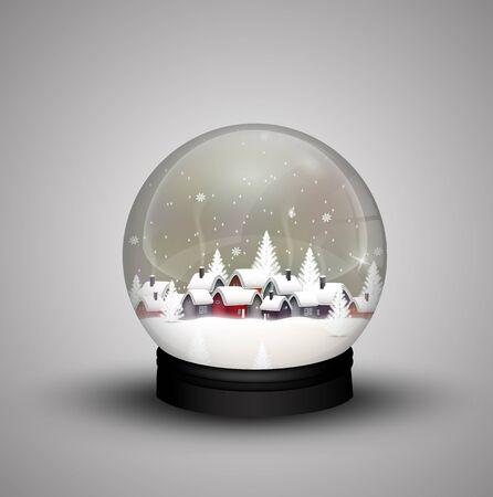 Glaskuppel Winter in Holzhaus auf Weihnachten