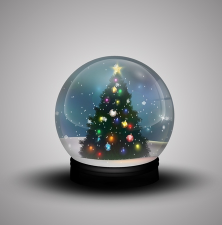 christmas snow globe: Glass dome winter with realistic Christmas snow globe with christmas tree Stock Photo
