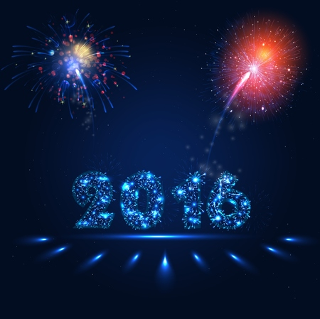 holiday lights display: Fireworks party of background - Happy New Year 2016