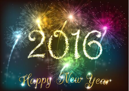new year's: Happy new year 2016 with colourful firework Stock Photo