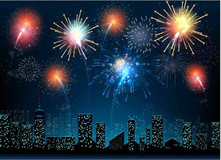 new year celebration: Urban at night with colorful firework background Illustration