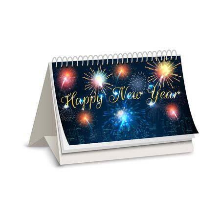assign: Happy new year of calendar fireworks Stock Photo