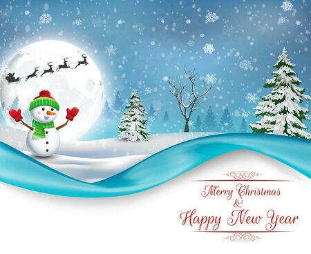 happy christmas: Happy Snowman Christmas background Stock Photo