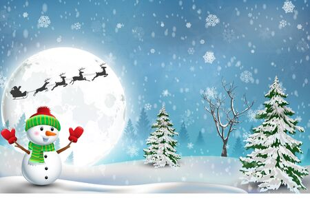 snow and trees: Happy Snowman Christmas background Stock Photo