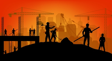 building site: Construction worker silhouette at work background