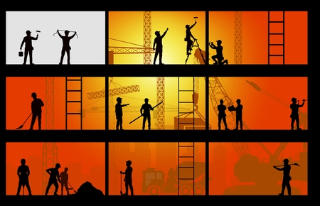 wheeled tractor: Construction worker silhouette at work background
