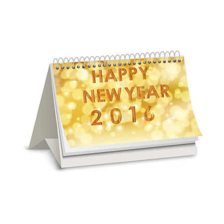 assign: Happy new year 2016 of calendar on bubbles blurred Illustration