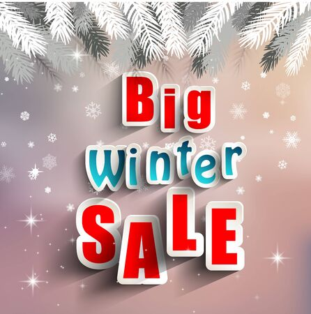 advertisement: Advertisement about the sale background with christmas decoration Illustration
