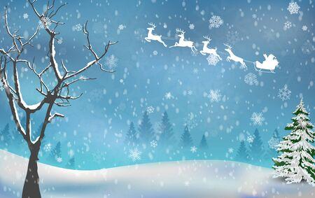 winter tree: Christmas tree autumn on winter background