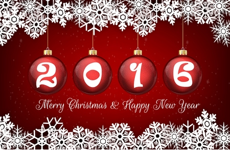 red ball: Happy new year 2016 on red ball background