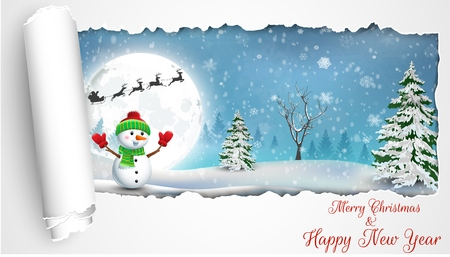 snowman vector: Happy Snowman Christmas background with concept folding paper
