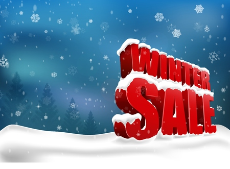sale sign: Winter sale on christmas snow