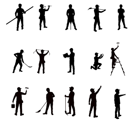 industrial worker: Silhouette workers and tools isolated background