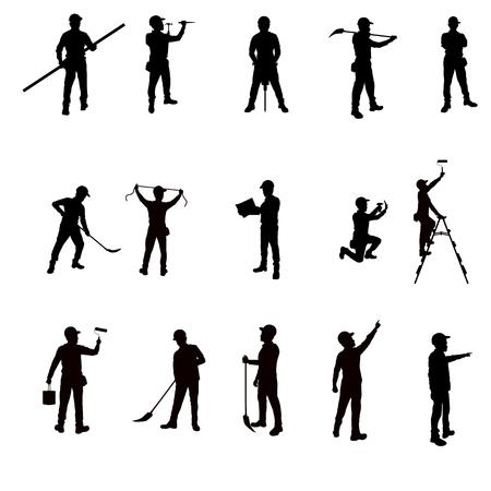Trabalhadores silhueta e ferramentas isoladas fundo Ilustração