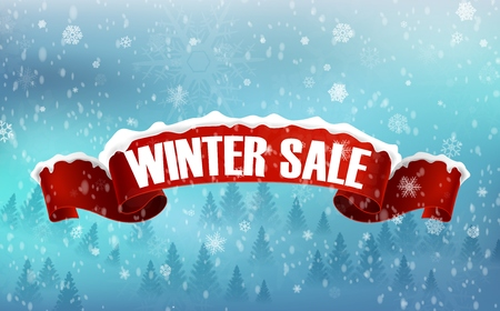 snow and trees: Winter sale background with red realistic ribbon banner and snow Stock Photo